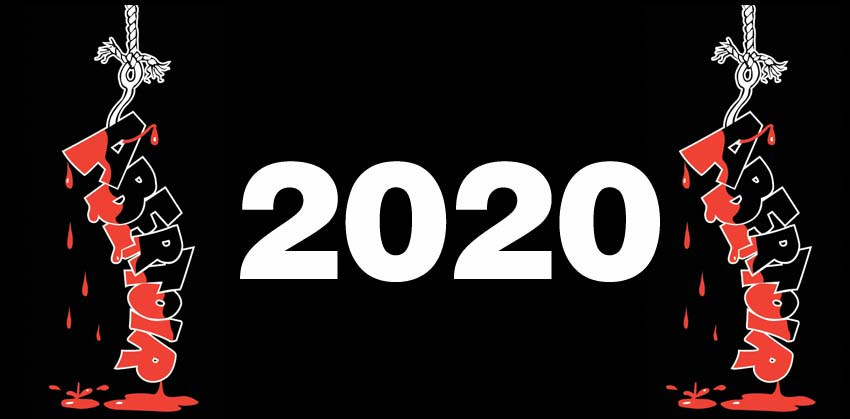 A bold graphic - large white numbers spell '2020' on a black background, and the Abertoir logo is either side of the date.